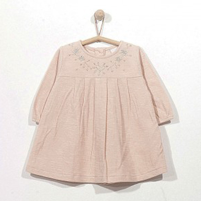 Nomad pink dress with metallic embroidery 1