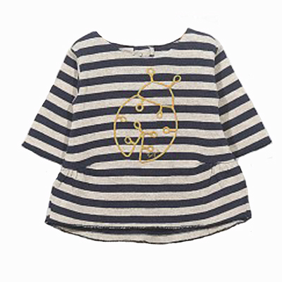 Striped ladybug tunic dress - 6 months 1