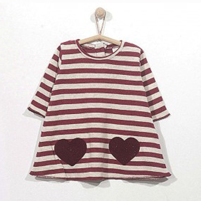 Maroon striped dress with heart appliques - 3 months 1