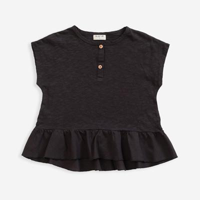 Basalt ruffle hem organic shirt 1