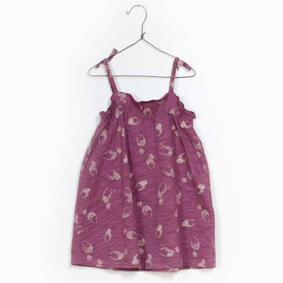 Hand print dress in mauve 1