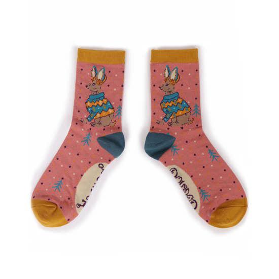 Jumper Hare bamboo socks in candy (women's) 2