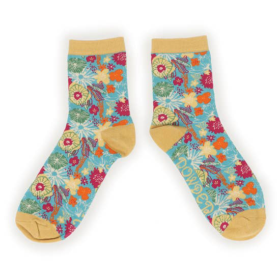 Modern floral bamboo socks in turquoise (women's) 1