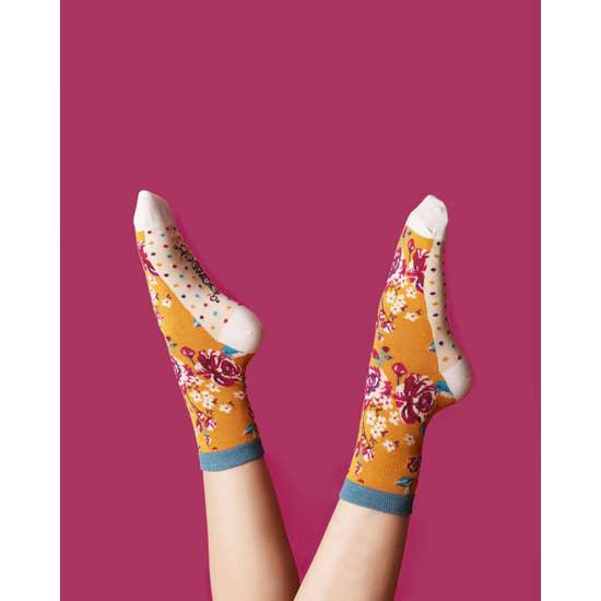 Rosebud bamboo socks in mustard (women's) 2