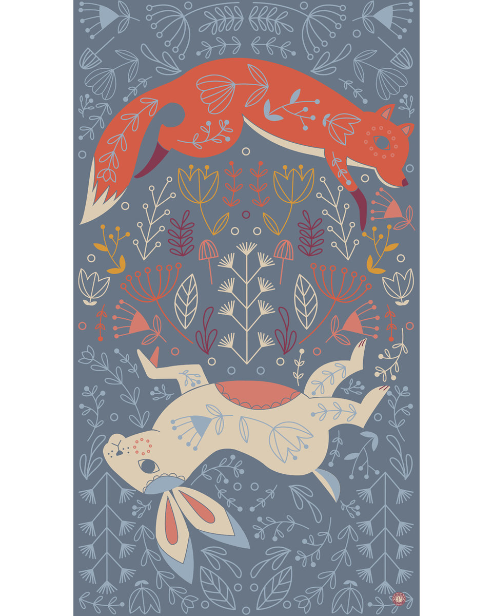 Scandi Fox and  Hare print scarf 2