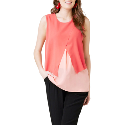 Crossover Nursing Blouse in peach/coral 1