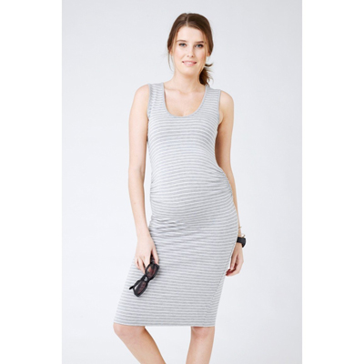 Mia Stripe Tank Dress in silver and white 1
