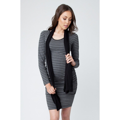 Charcoal marle striped cocoon maternity dress 1