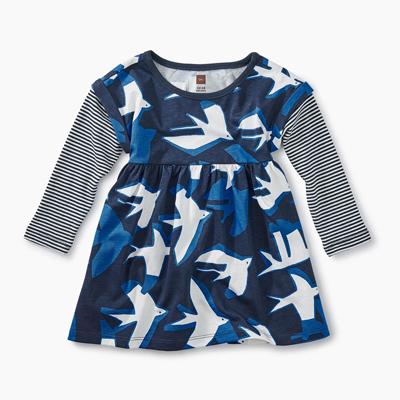 Sea birds layered sleeve dress - 9-12 months 1