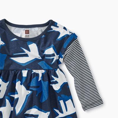 Sea birds layered sleeve dress - 9-12 months 2
