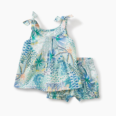 Tropical Palms shoulder tie baby outfit 1