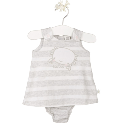 Grey striped crab baby dress with bloomer 1