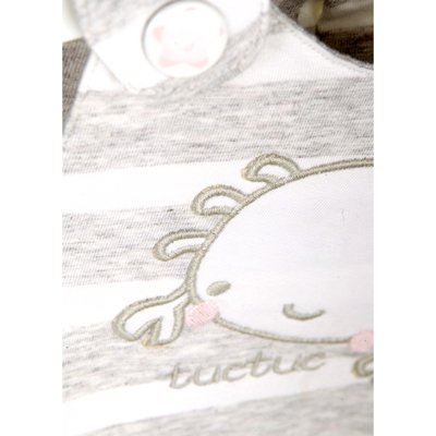 Grey striped crab baby dress with bloomer 2