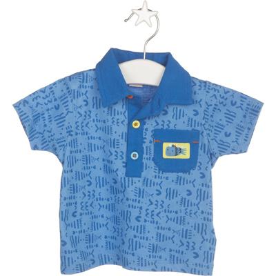 Blue print polo shirt 1