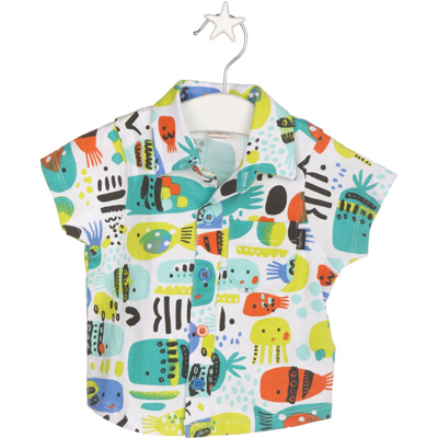 Bright fish button up shirt 1
