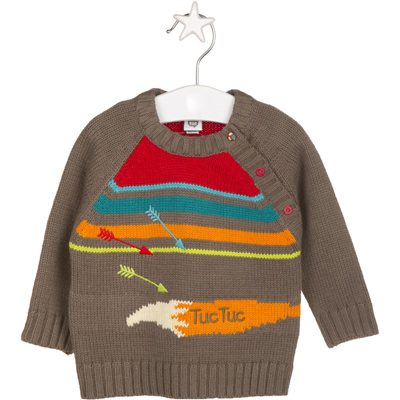 Brown stripe and fox tail sweater 1