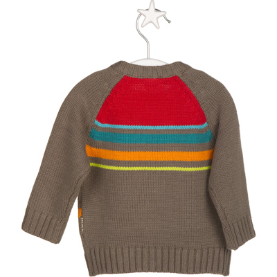 Brown stripe and fox tail sweater 2