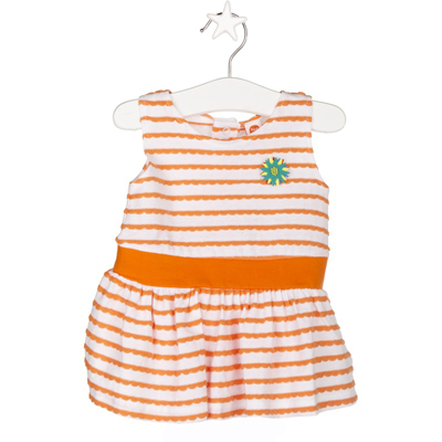 Orange and white striped dress - 9 months 1