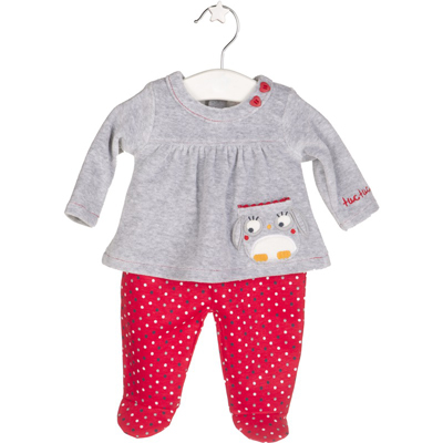 Grey and red Owl top and footed polka dot pants 1