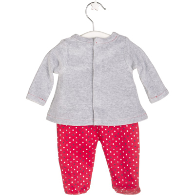 Grey and red Owl top and footed polka dot pants 2