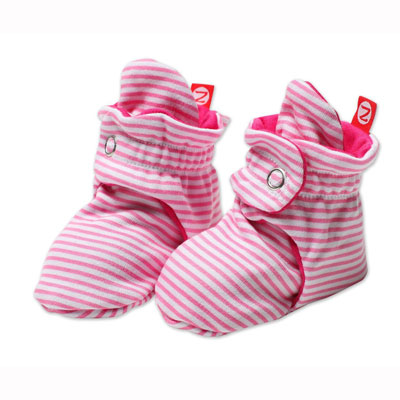 Hot pink candy stripe booties 1