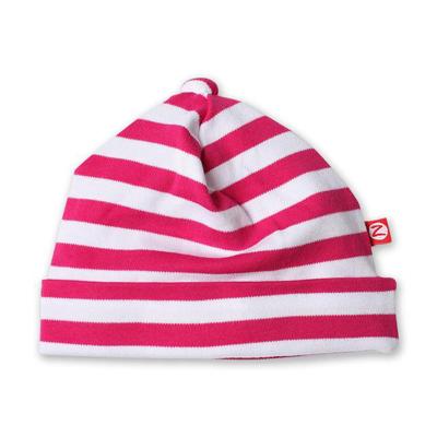 Fuchsia and white stripe baby hat 1