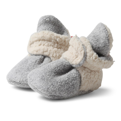 Heather gray cozie fleece furry lined booties - 3 months