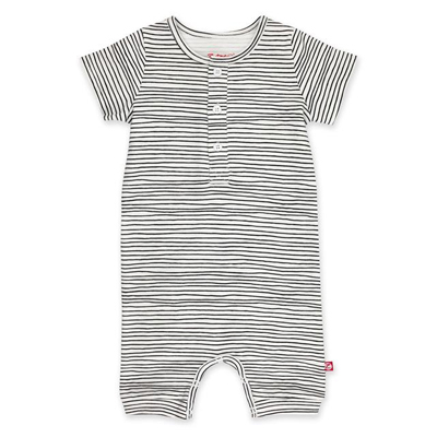 Pencil Stripe Organic Cotton Henley Bodysuit 1